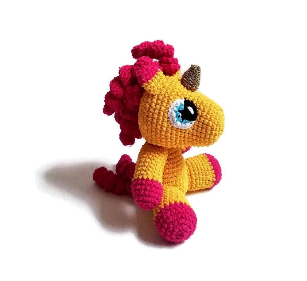 peluche licorne crochet au tricot orange Paillettes