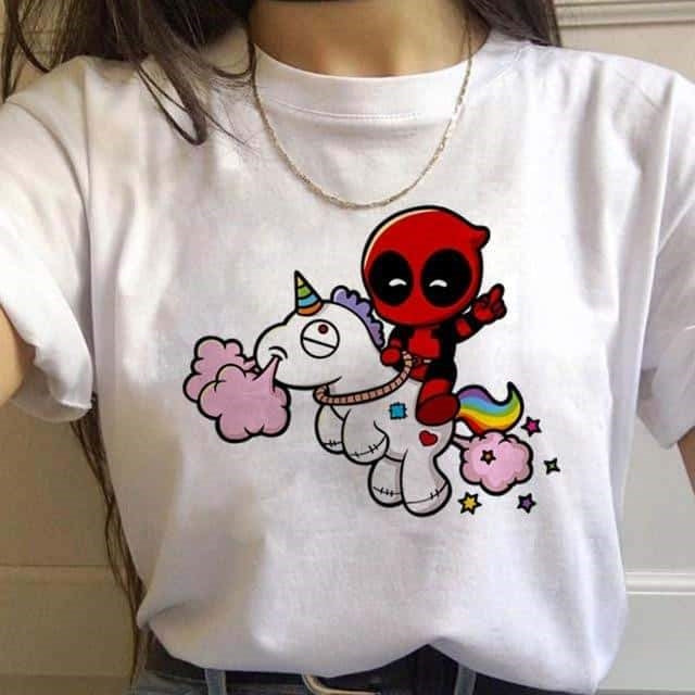 tee shirt licorne deadpool tendance
