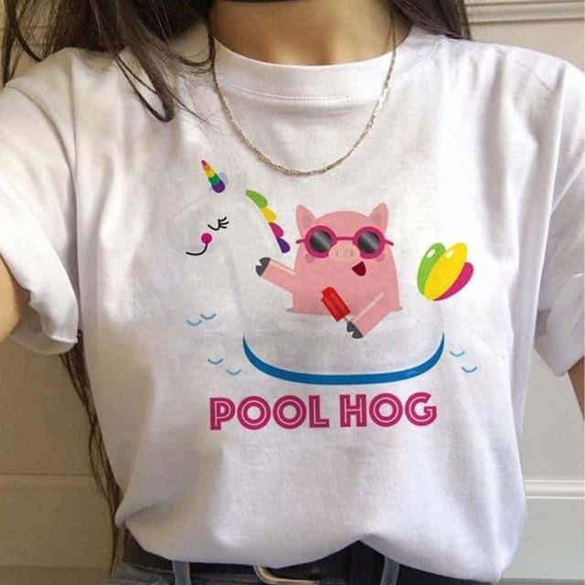 tee shirt licorne pool hog Arc-en-ciel