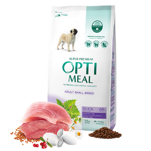 OPTIMEAL Complete Dry Dog Food for Small Breeds with Duck
