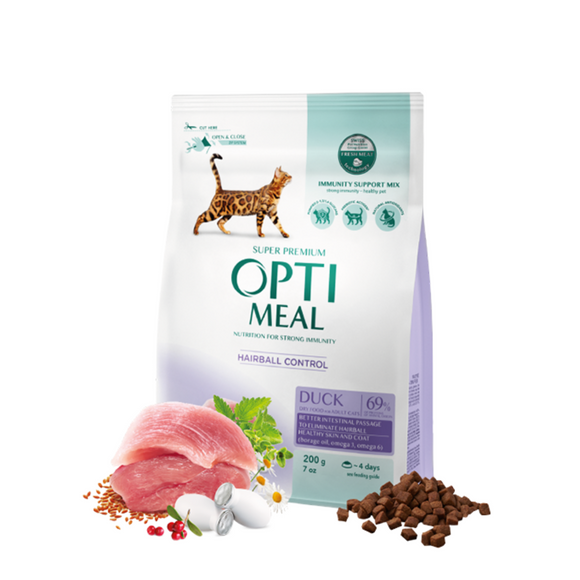 OPTIMEAL Dry Adult Cat with Duck for Hairball Control