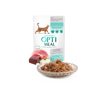 OPTIMEAL Hairball Control Pouches with Duck and slices of Liver in Apple Jelly