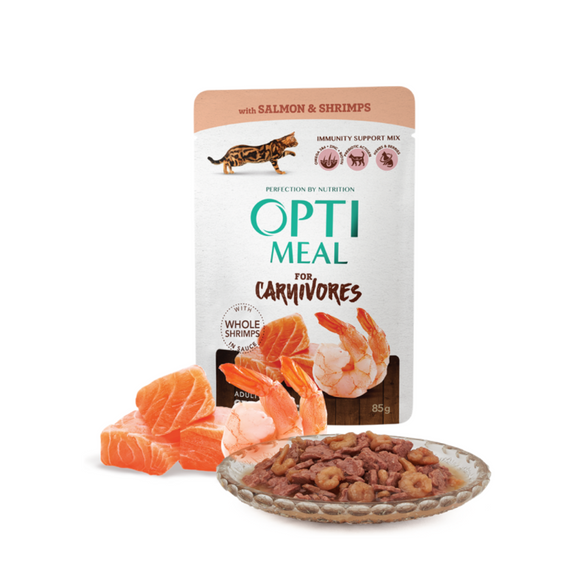 OPTIMEAL Pouches with Salmon and Shrimps in Sauce