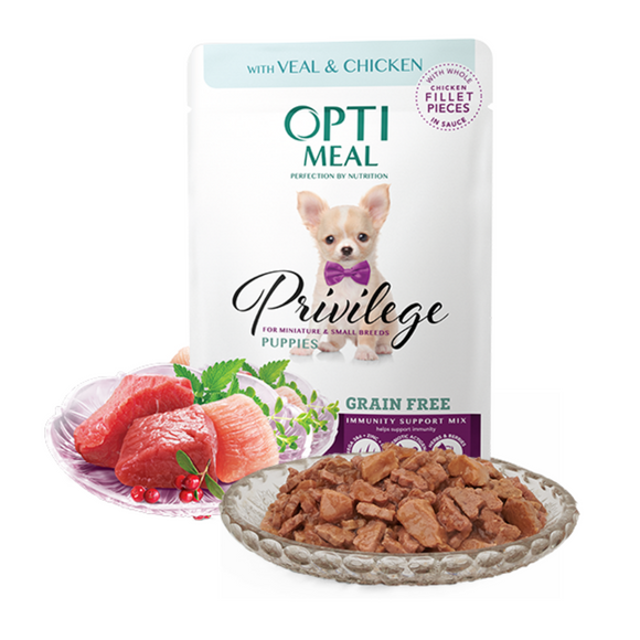 OPTIMEAL Privilege Grain Free Pouches for puppies of miniature and small breeds with Veal and Chicken Fillet in sauce