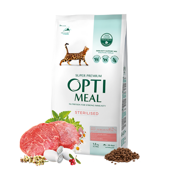 OPTIMEAL Sterilised Cats high in Beef & Sorghum