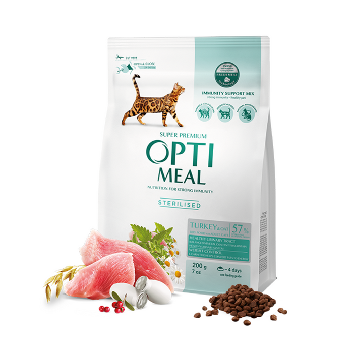 OPTIMEAL Sterilised Cat with Turkey and Oat