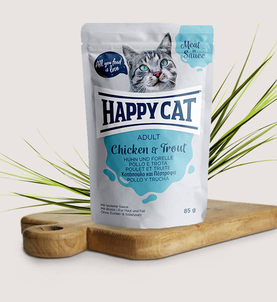 Happy Cat Meat in Sauce Adult Chicken & Trout - Targa Pet Shop