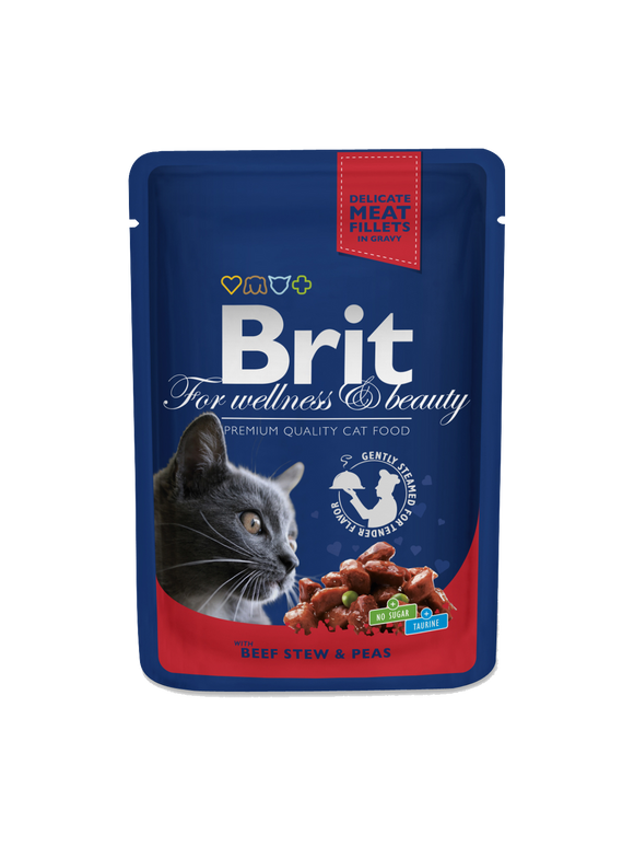 Brit Premium Cat Pouches with Beef Stew & Peas - Targa Pet Shop