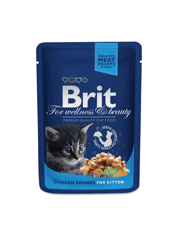 Brit Premium Cat Pouches Chicken Chunks for Kitten