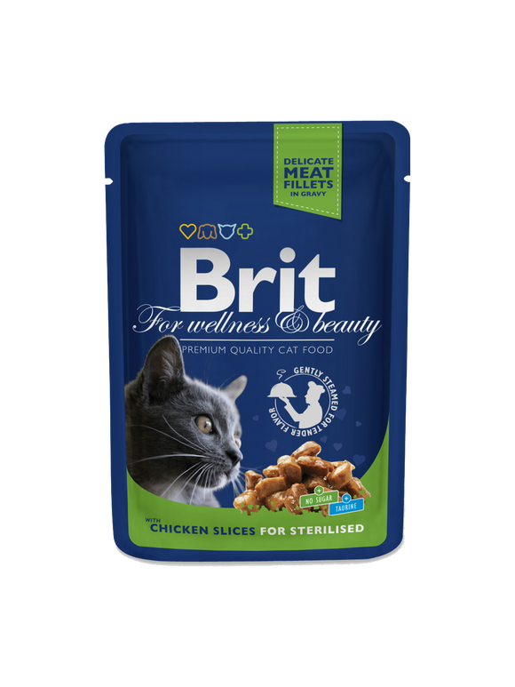 Brit Premium Cat Pouches Chicken Slices for Sterilised