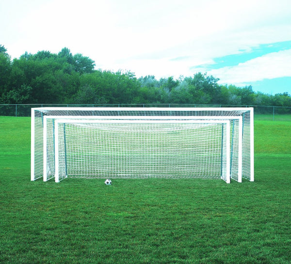 "No-Tip 24' x 8' Competition 4"" x 4"" Portable Aluminum Soccer Goals"