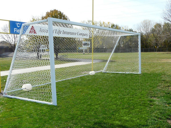 "All Aluminum No Tip 24' x 8' Competition 4"" x 4"" Portable Soccer Goals"
