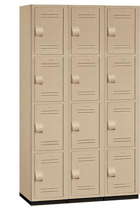 "15"" Wide Four Tier Heavy Duty Plastic Locker - 15-44368TAN"