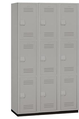 "15"" Wide Triple Tier Heavy Duty Plastic Locker - 15-43368GRY"
