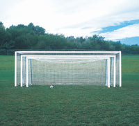 "No Tip 18 1/2' x 6 1/2' Club 4"" x 4"" Portable Aluminum Soccer Goals"