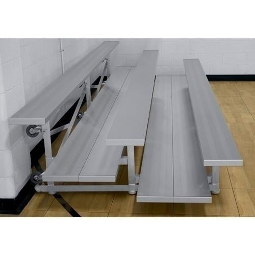3-Row Low Rise Tip-N-Roll Aluminum Bleacher With Double Foot Planks 15 Ft