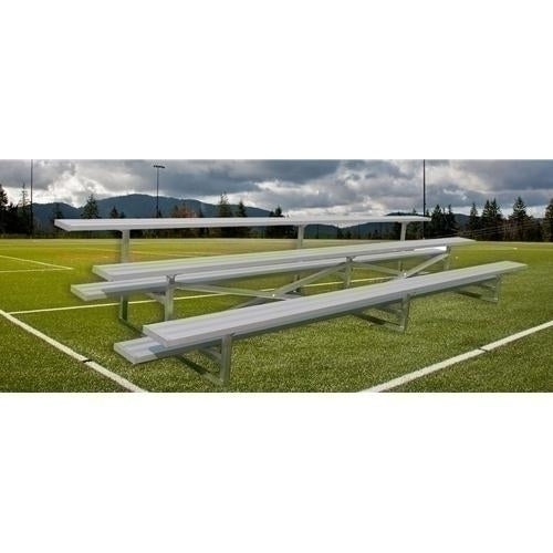 3-Row Stationary Aluminum Bleacher Without Aisle 21 Ft