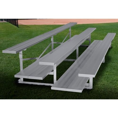 3-Row Stationary Aluminum Bleacher Without Aisle With Double Foot Planks 15 Ft