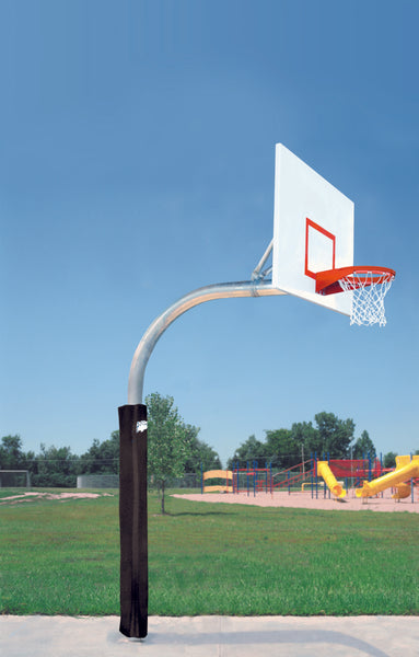 "5 9/16"" X 8' Mega Duty Steel Rectangle Playground Basketball System"