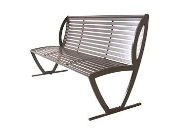 6 Feet Augusta Bench With Back, - Side And Center Armrests - Horizontal Slat - Pc