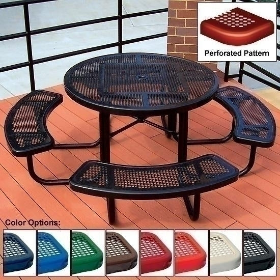 Ada Round Table Perforated 3 Seat 46 Inch