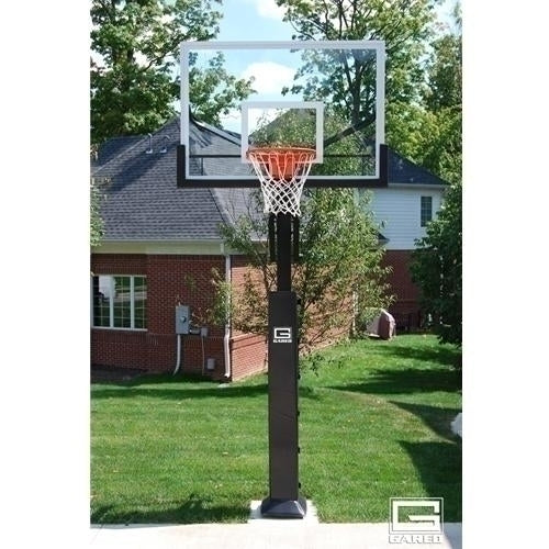 Collegiate Jam Adjustable Basketball System With 5inch Post And 60inch Glass Board