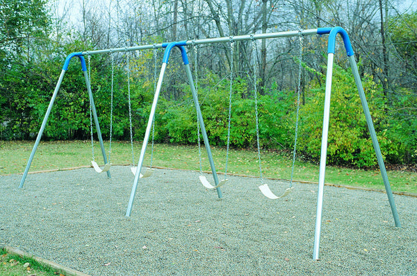 Double Bay Bipod Swing Set With 4 Strap Seats - Green Yokes