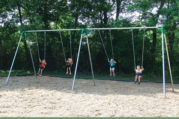 Double Bay Bipod Swing Set With 4 Tot Seats - Green Yokes