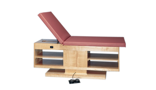 "Electric Hi-Lo Upholstered Treatment Table Withadjustable Back And Shelves, 30"" X 78"""