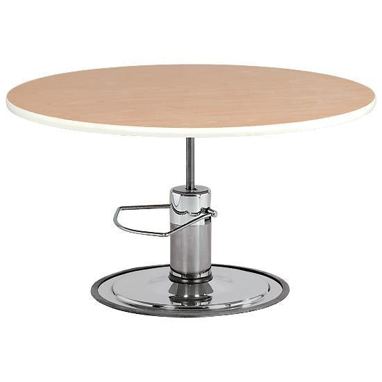 Round Hardwood Top Hydraulic Table 47 Inch Dia