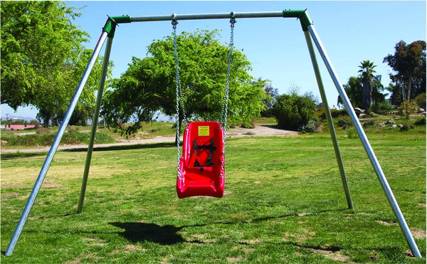 Swing Frame, Jennswing 6' Single, Green End Caps, Red Swing, And Black Chain