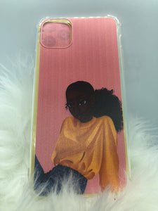 Melanin Phone Case: Sleek Bun