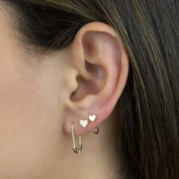 Mini Solid Heart Threader Hoop Earring 14K
