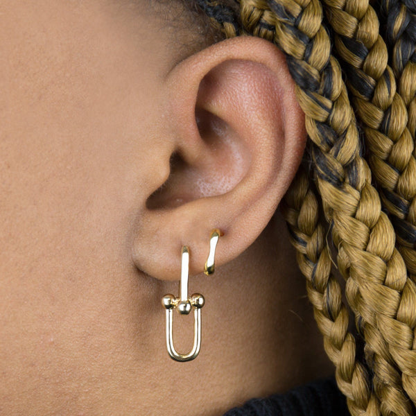 Bamboo Square Open Hoop Earring