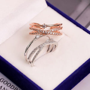 Fashion Fine Zircon Ring Adjustable Rose Gold Color