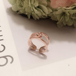 Stylish Multilayer Zircon Open ring Copper in Rose Gold