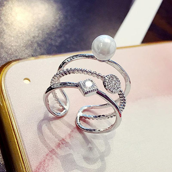 Multi-layer Zircon Pearl Ring Adjustable Silver Color For Her
