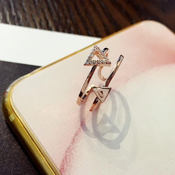 Stylish Zircon Double Triangle Ring Rose Gold Color