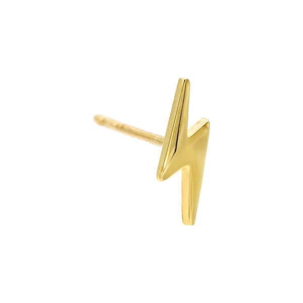 Solid Lightning Stud Earring 14K