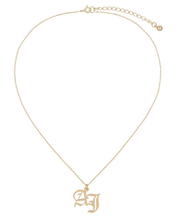 Gothic Double Initial Necklace 14K