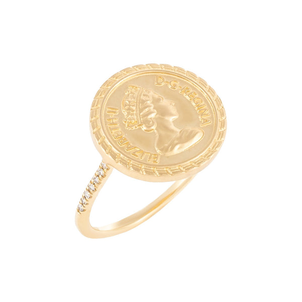 Diamond English Coin Ring 14K