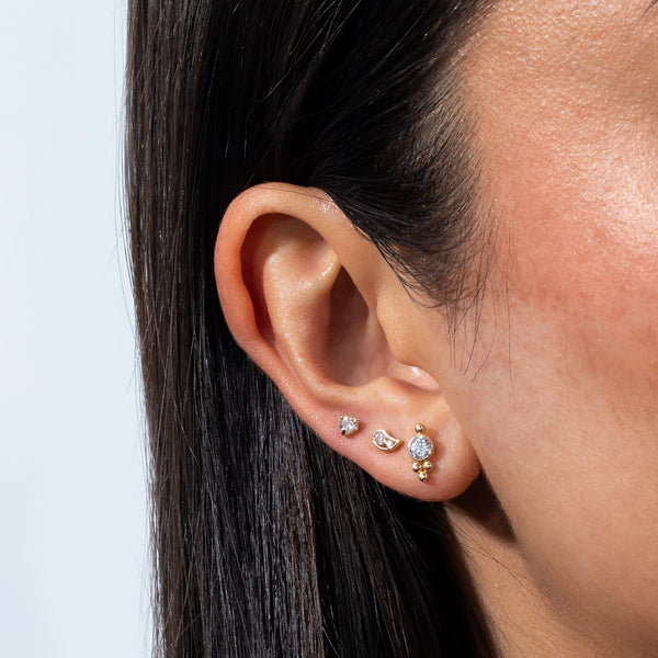 Beaded X CZ Stud Earring 14K