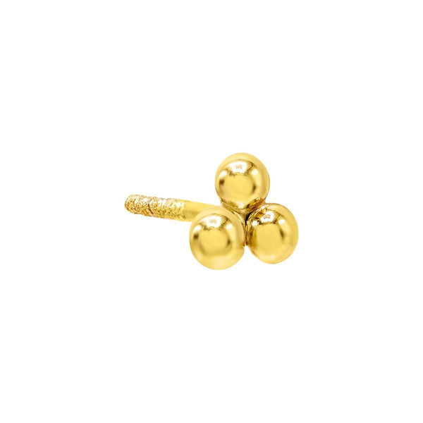 Beaded Cluster Stud Earring 14K