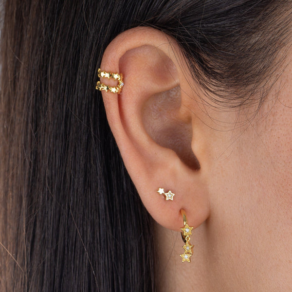 Tiny Double Star Stud Earring