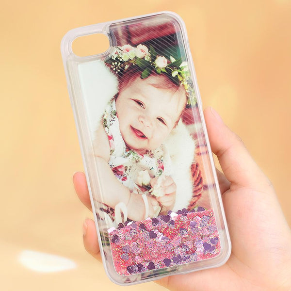 Custom Pink Quicksand Photo iPhone Case For All iPhone Type