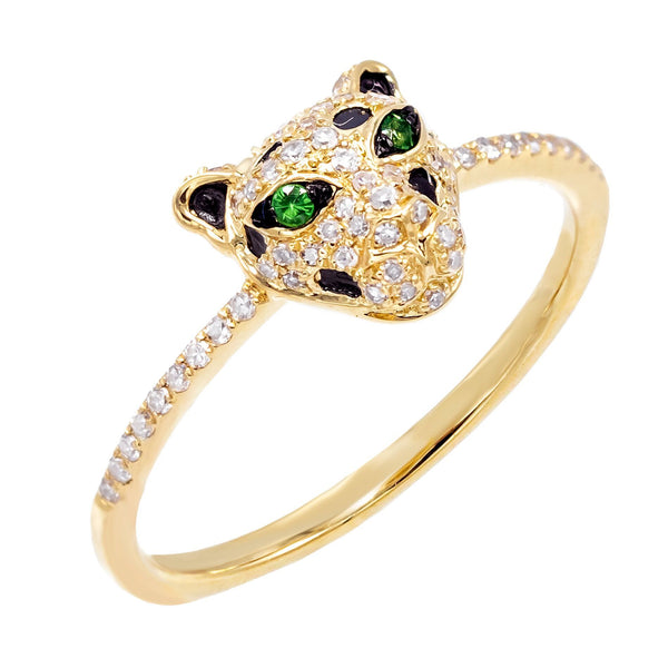 Diamond Panther Ring 14K