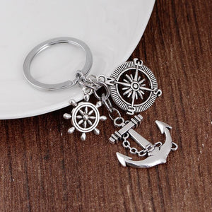 Compass Keychain Rudder Anchor Personalized Keychain
