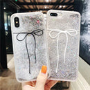 iPhone Quicksand Black Bow-knot Phone Case
