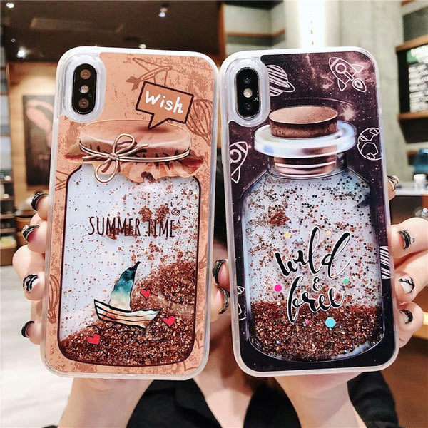Bottle Quicksand iPhone Case Black -  Love Name Necklace