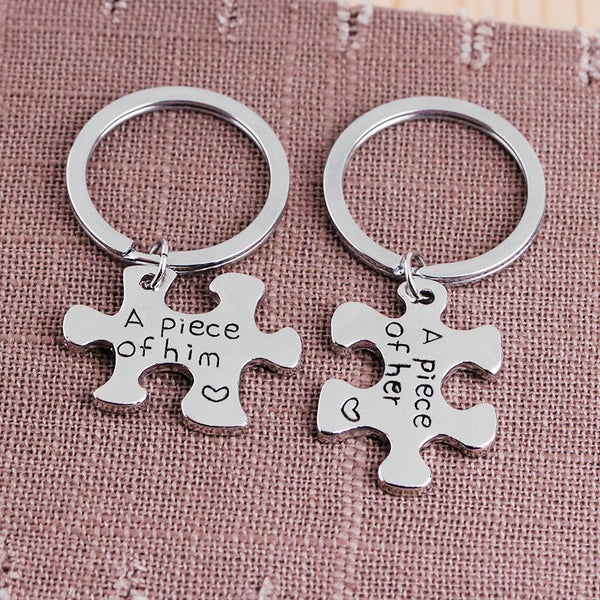 A Peice Of Him/Her Couple's Puzzle Keychain Silver Color -  Love Name Necklace